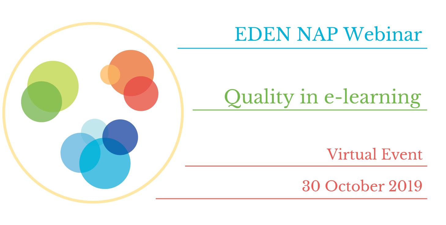 EDEN NAP webinar and #EDENChat on 30 October 2019   EDEN